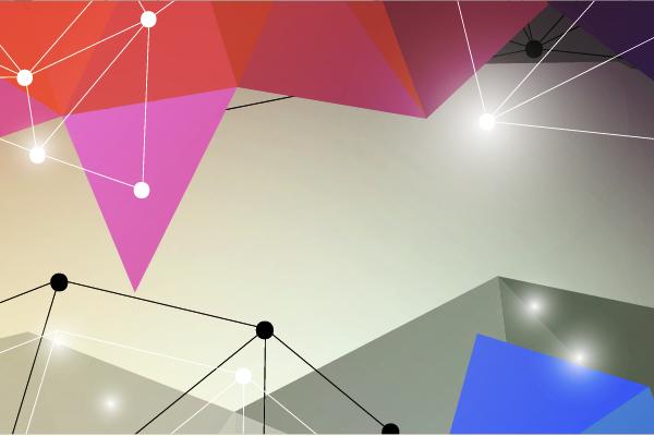 Kolorowe kształty oraz linie łączące się z punktami