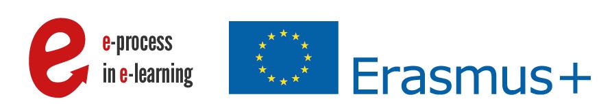 Logo Erasmus+, logo E-process in E-learning