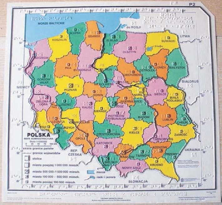 Mapa Polski w technologii próżniowo termicznej